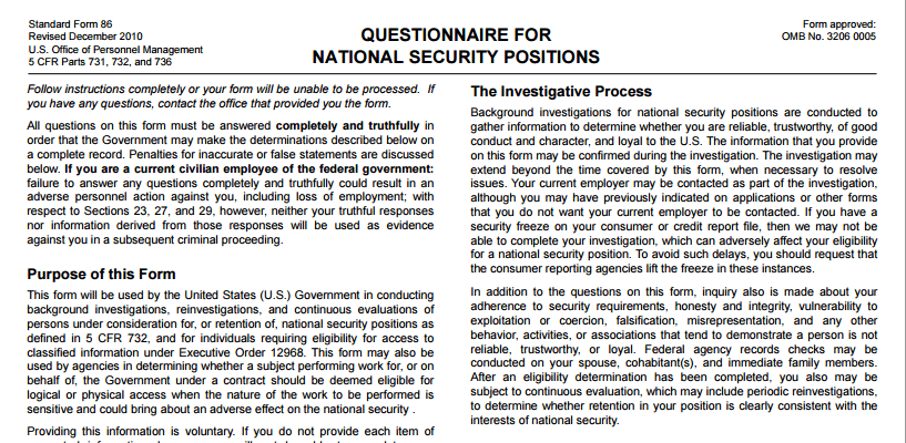 question form back ground investigation