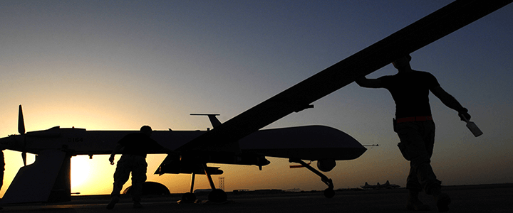 air force drone at sunset