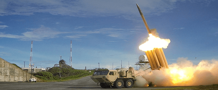 Truck launching missile