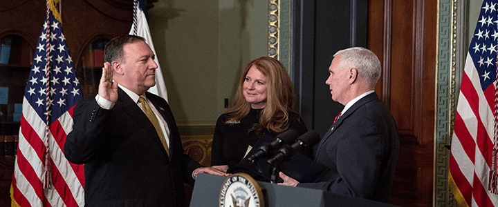 Mike Pompeo being sworn in by mike pence