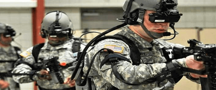 Men in uniform doing future training with VR headsets