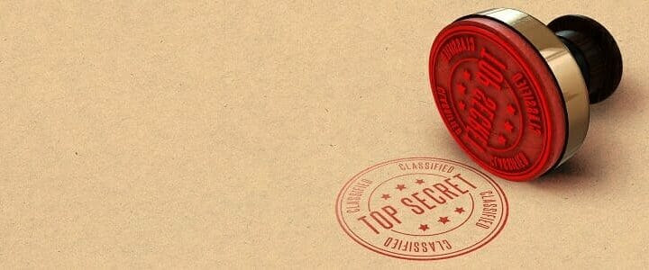 stock photo of top secret rubber stamp