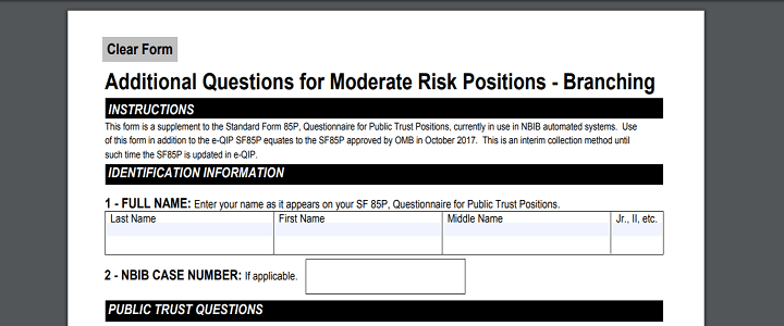 SF-85P Additional Questions for Moderate Risk Positions form page