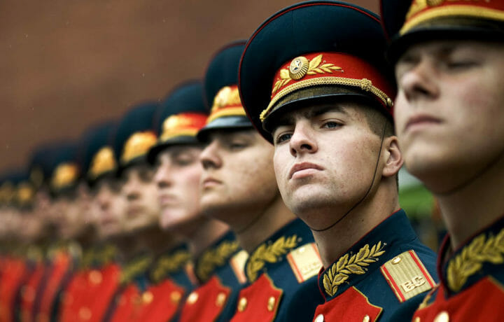 Russian military personnel in uniform