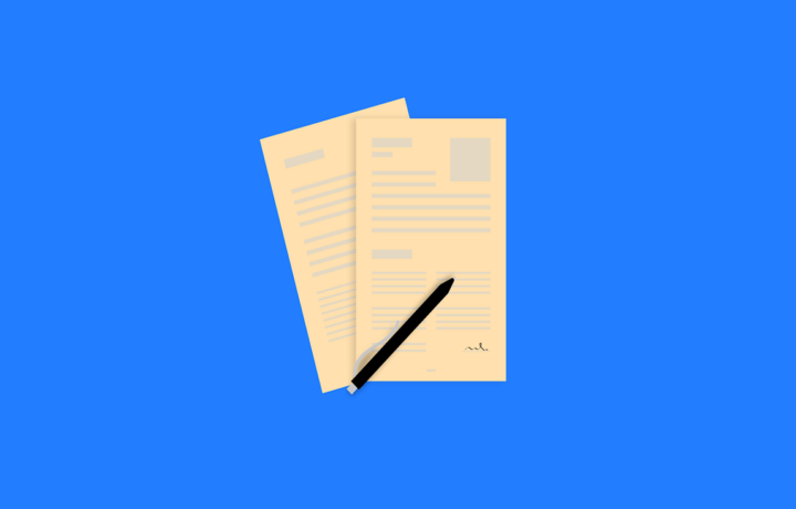 Illustration of paperwork with pen