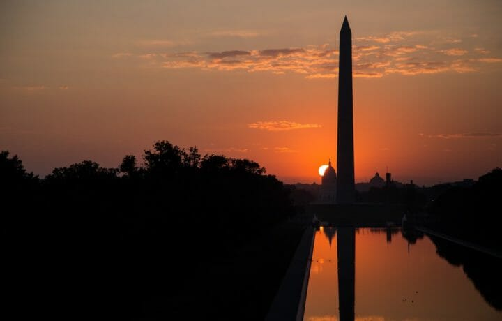 Washington Monument at sunset in Washington DC