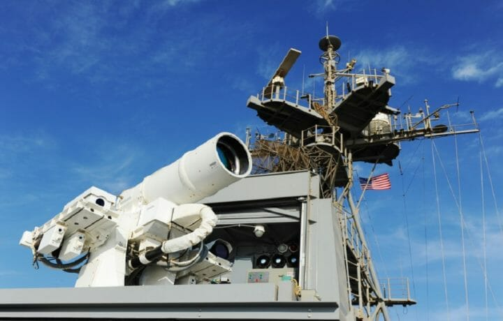 Laser weapon on Naval ship