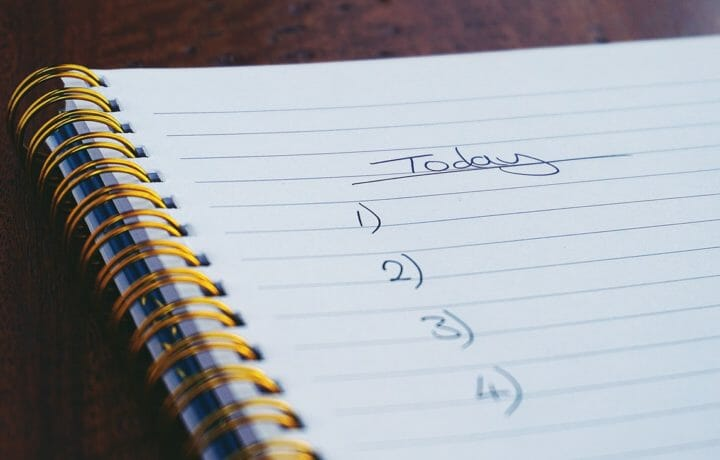 Today to-do list with blank numbered items