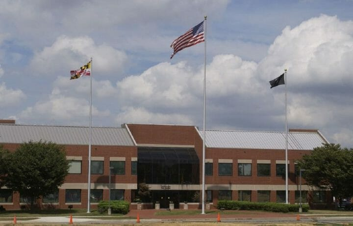 Flags flying outside Fort Detrick army headquarters