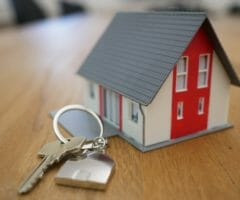 keychain small house with red door and grey roof